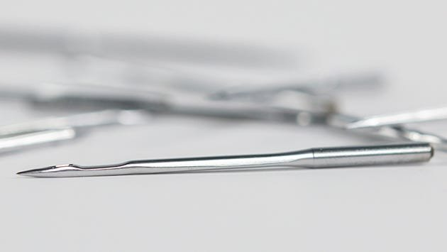 Close-up view of a Groz-Beckert longarm needle