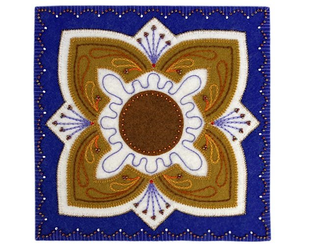 Blue wool applique
