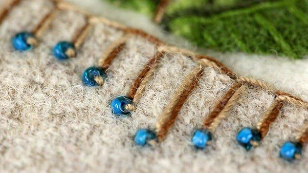 Wool applique beading