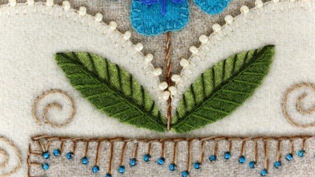 Wool applique leaf