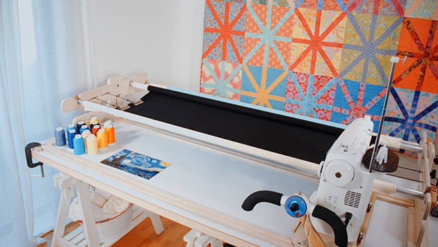 My New English Quilter frame and Juki sewing machine